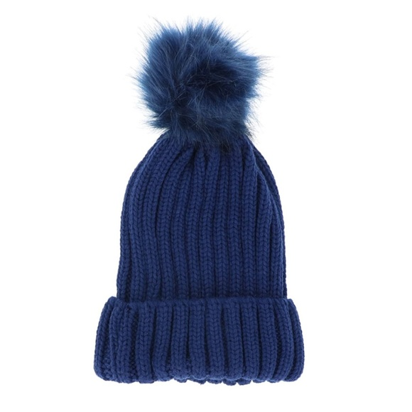 a399067d6d3 Colored Faux Fur Knit Pom Pom Beanie - NAVY